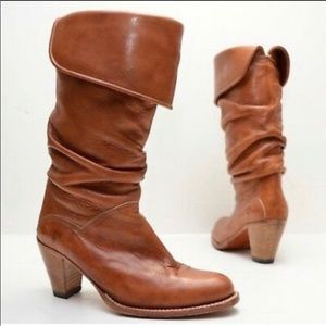 Frye dorado slouch leather stacked heel boots